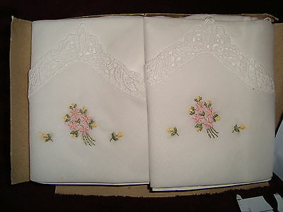2 Cotton Ladies Handkerchiefs with embroidered flowers