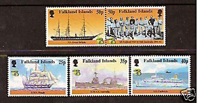 FALKLAND IS AUSTRALIA 1999 STAMP EXHIBITION SHIPS CRICKET SS GREAT BRITAIN 5v M
