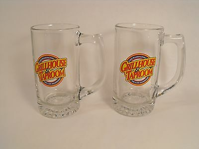 Two Tall Clear Glass Beer Mugs Lake Washington Grillhouse & Taproom Roadhouse