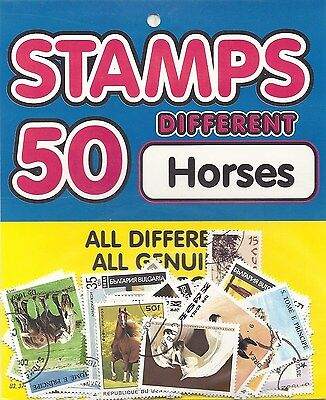 Packet 50 Different WORLD Stamps featuring HORSES - Hang Sell for easy Re-sale