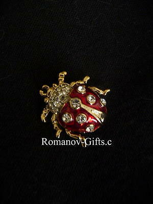 Russian Imperial Princess Anastasia Lady Bug Pin Brooch in gold w/crystals