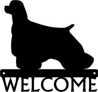 """Dog Silhouette Metal Art Welcome Sign Wall Plaque 12"""" - Breed Cocker Spaniel"""