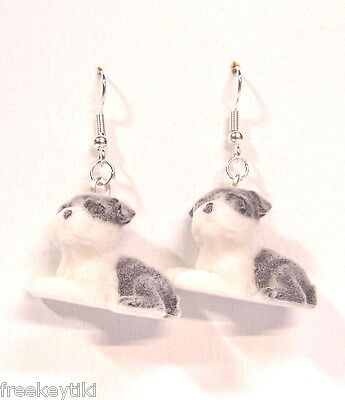 "Saint Bernard Dogs Puppies 1"" Mini Figures Fuzzy w/ Flocking Dangle Earrings"