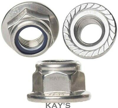Flanged Nyloc Nuts A2 Stainless Steel Nylon Insert Serrated Flange Locking Nuts