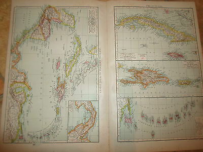 Old Maps CENTRAL AMERICA+WEST INDIES+THE ANTILLES From The Universal Atlas 1893