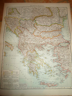 Old Map THE BALKAN PENINSULA ~ Taken From The Universal Atlas 1893
