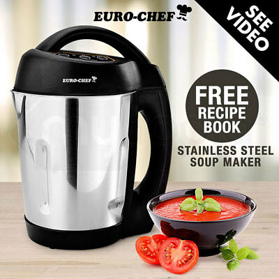 Euro-Chef Soup Maker Hot Cold Electric Blender Mixer Processor Stainless Kettle