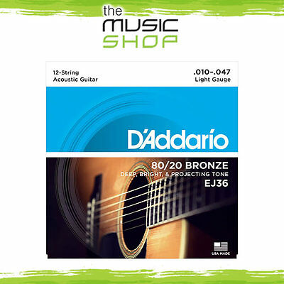 D'Addario EJ36 10/47 12 String Acoustic Guitar Strings - 80/20 Bronze - Daddario