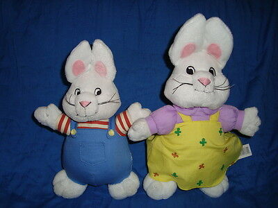 Max & Ruby 2pc Lot Plush Bunny W/Plastic whiskers