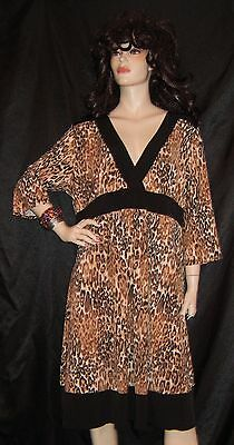 Nwt Candy Rain Leopard Cheetah Animal Print W/ Black Trim No Wrinkle 3X  Ample