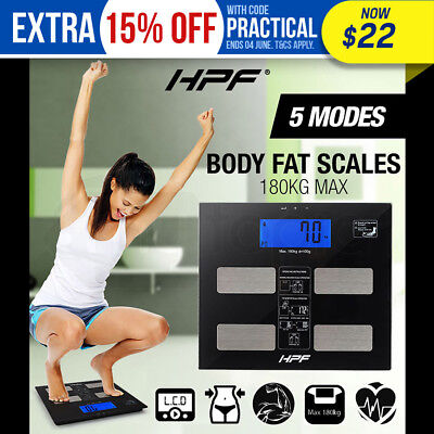 HPF Digital Body Fat Scale Bathroom Scales Gym Weight Glass Water LCD Electronic
