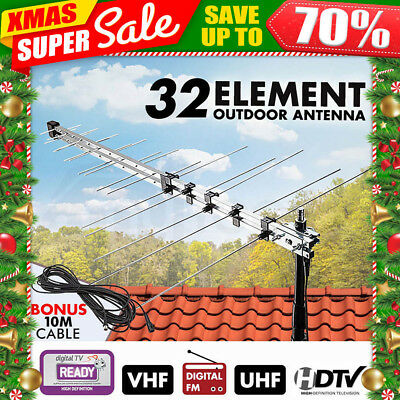 Mytopia TV Antenna 32 Element Outdoor Aerial TV UHF VHF HD Digital FM Analogue