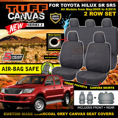 TUFF CANVAS S2 Seat Covers for Toyota Hilux SR5 Dual Cab 2ROWs 5/2005-2015 CHARC