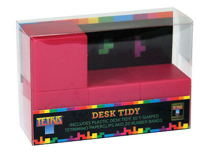 Official Tetris Desk Tidy Desktop Storage with Rubber Bands and Paper Clips