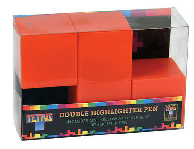 Official Tetris Double Yellow and Blue Highlighter Pen Desktop Gift