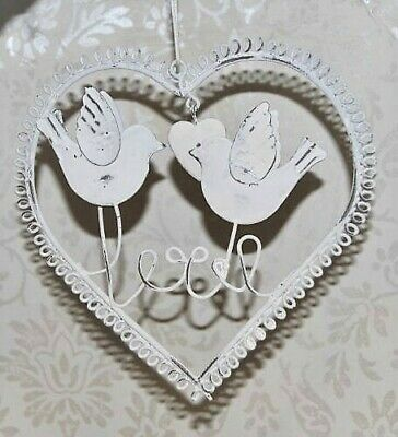 Shabby Chic Antique White Metal hanging heart Love birds Love Heart with leaf...