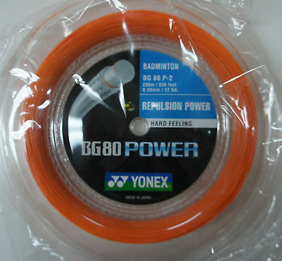YONEX Badminton String BG80 Power  x 200 m, Orange, for Hard Hitting Players