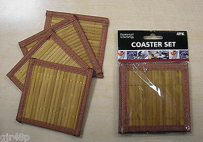 Essential Living Pack of 4 Bamboo Wood Style Drinks Coasters (4) New 10 x 10 cm