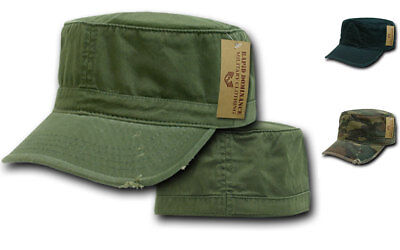 49af01581fd Vintage BDU Fatigue Distressed Cadet Patrol Military Army Fitted Caps Hats