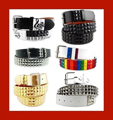 New-3Rows-Metal  Pyramid Studded LeatherBelt Peace sign unisex Rock Punk