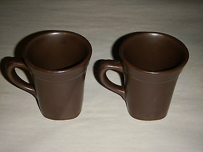 "Vintage Pair Syracuse China Dark Brown Mocca 3.75"" Coffee Cups Art Deco Usa"