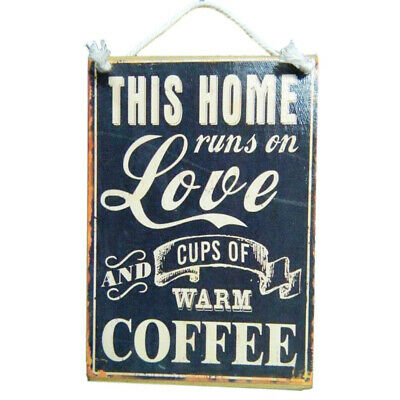 Country Printed Quality Wooden Sign with Hanger LOVE AND COFFEE Retro Plaque New