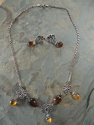 Mexican Fine Silver & Amber Stunning Necklace & Earrings set by designer Citlali