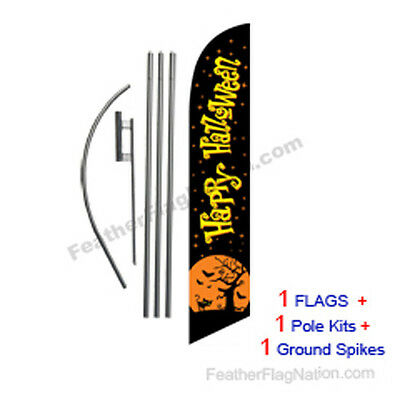 Happy Halloween (black) 15' Feather Banner Swooper Flag Kit with pole+spike