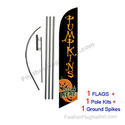 Pumpkins Sold Here 15' Feather Banner Swooper Flag Kit with pole+spike