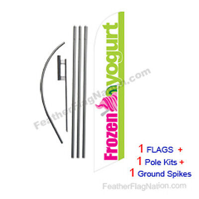 Frozen Yogurt 15' Feather Banner Swooper Flag Kit with pole+spike
