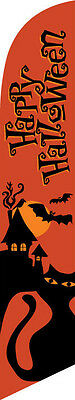 Happy Halloween (orange) 12ft Feather Banner Swooper Flag - FLAG ONLY