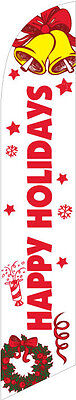 Happy Holidays (white) 12ft Feather Banner Swooper Flag - FLAG ONLY