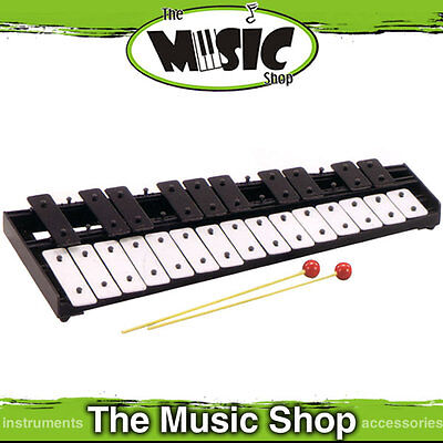 New Mitello UE441 25 Note Glockenspiel with Beaters - Black & White Steel Bars