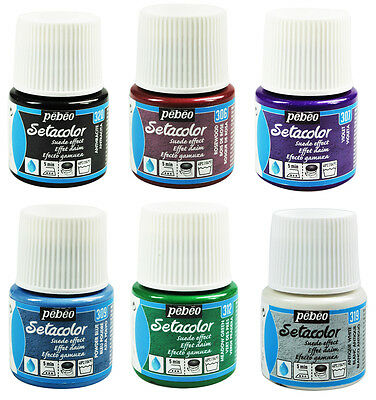 Pebeo Setacolor Opaque SUEDE EFFECT Flocked Fabric Paint 45ml - 20 Colours
