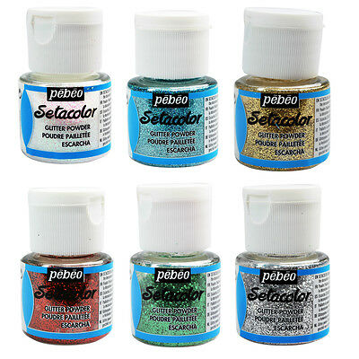 Pebeo Setacolor Light Fabric Textile Paint Giltter Sparkle Powder 10g Pots