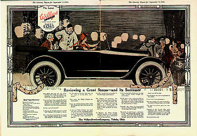 1916 WILLYS KNIGHT WOMAN DRIVER CENTERFOLD COLOR  ORIGINAL  CAR AD