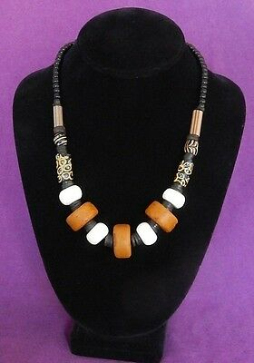 Antique Tribal Bead necklace w Shell and Old Tibetan Glass,Brass, 20 inches