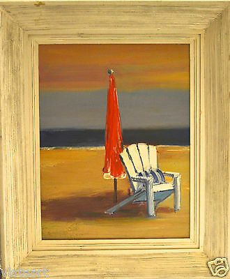 """Oil Paintings on Canvas White washed 20x24""""  Wood Frame-Beach Chair"""