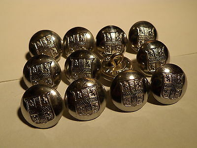 (#57) 12 Vintage County Durham Fire Brigade Buttons, NOS 16mm 50's 60's Outdated