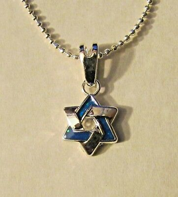 Jewish Silver Intertwined Star of David w/ Simulated Opals Free Silver Chain