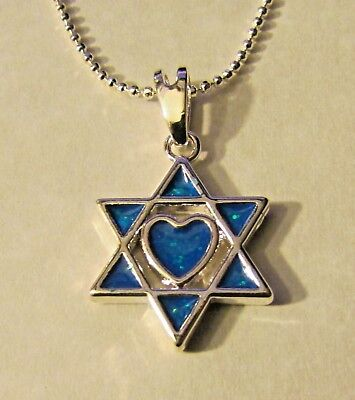 Jewish Silver Star of David Simulated Opal Heart in Center Free Silver Chain