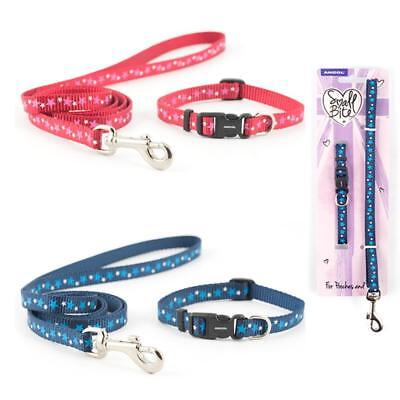 Ancol Small Bite Puppy Small Dog Nylon Stars Collar and Lead Set Red Blue