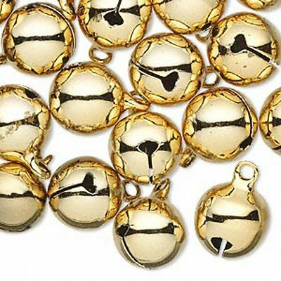Jingle Bells Christmas Holiday Craft Jewelry 12mm Gold Tone Brass Lot of 25