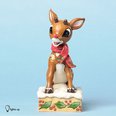 Rudolph with Blinking Nose Figurine Free S&H