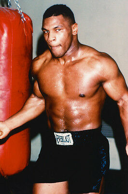 Mike Tyson 24x36 Poster bare chested training boxing gym punch bag