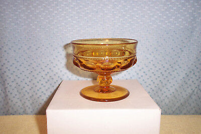INDIANA GLASS GOLDEN AMBER  KINGS CROWN 6oz SHERBET