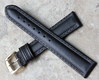 Vintage 18mm watch strap black leather water-resistant strap by Speidel USA
