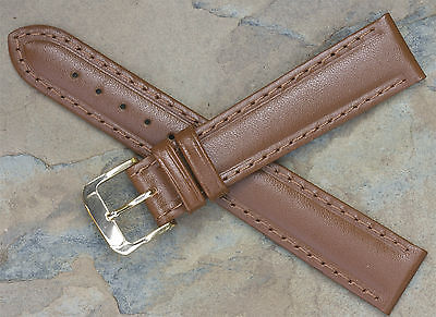 Vintage 18mm watch band medium brown leather water-resistant by Speidel USA