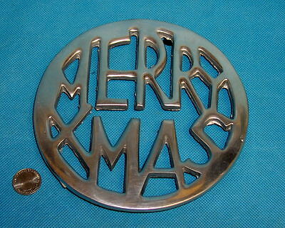 Pewter Merry Xmas Trivet Hot Plate 7""