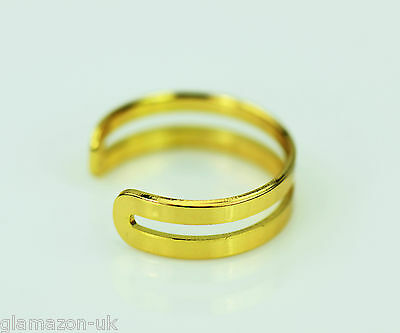 Toe Ring Gold / Silver Tone Adjustable Double Band Uk Brand New